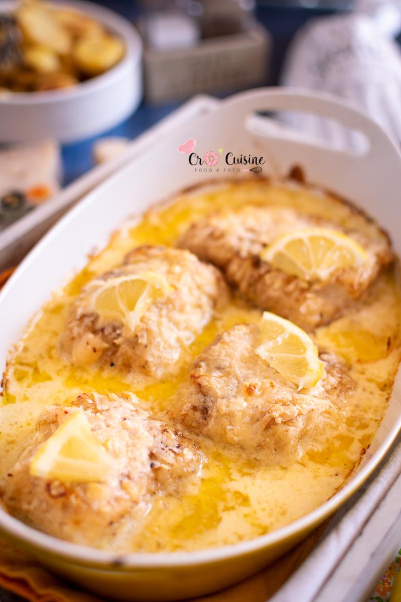 Des dos de cabillaud très goûteux à la crème de parmesan au citron